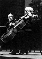 [Photo: Rostopovich playing cello]