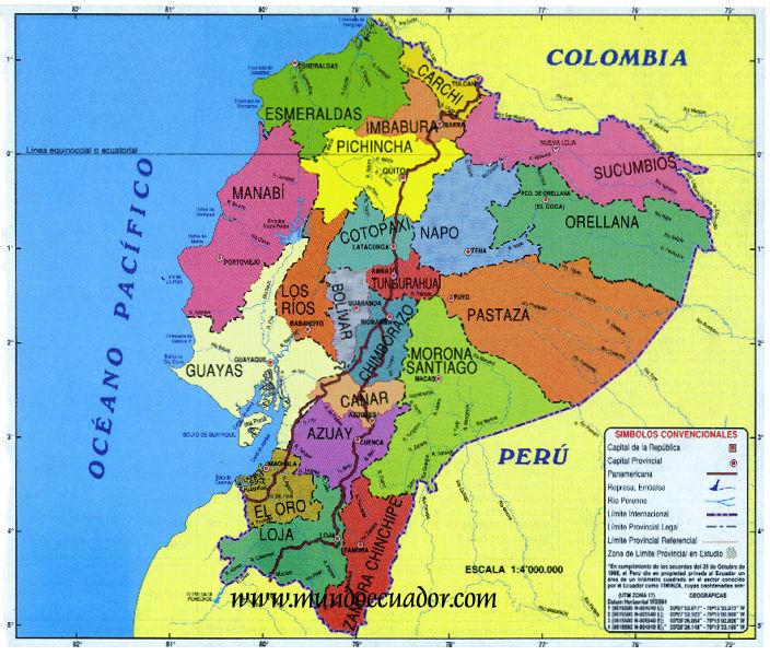 Mapa poltico de Ecuador